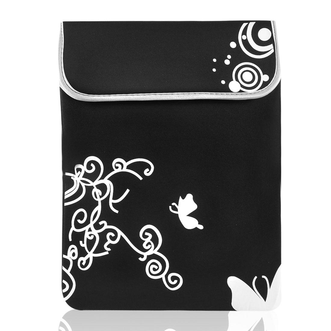 "14"" 14.1"" Laptop White Butterfly Swirl Black Neoprene Sleeve Bag Case Pouch"