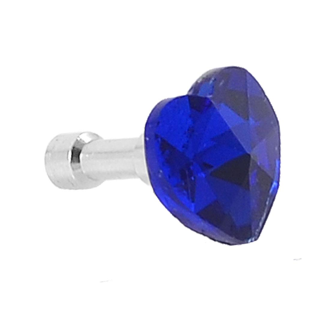 Glitter Royal Blue Heart Shape Crystal 3.5mm Ear Cap Dust Plug for MP4 Cell Phone