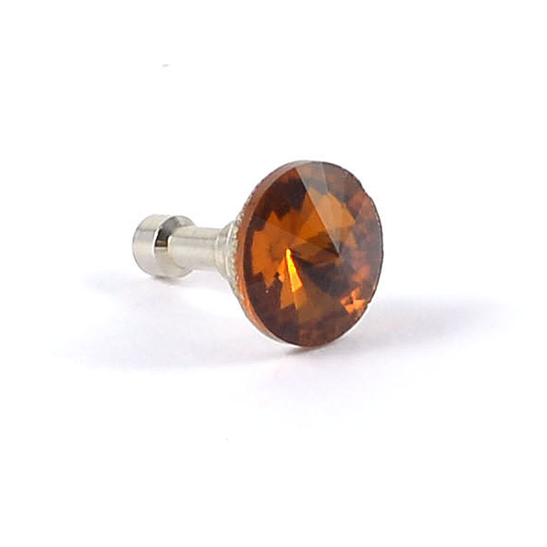 Glitter Brown Faceted Crystal Detail 3.5mm Ear Cap Dust Plug for Cell Phone