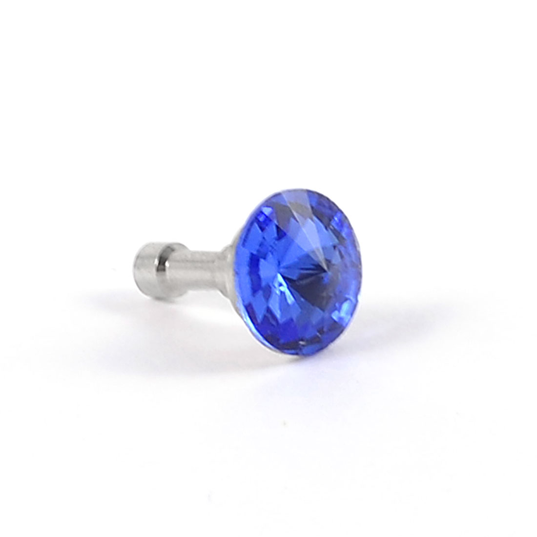 Glitter Blue Faceted Crystal Detail 3.5mm Ear Cap Dust Plug for Cell Phone
