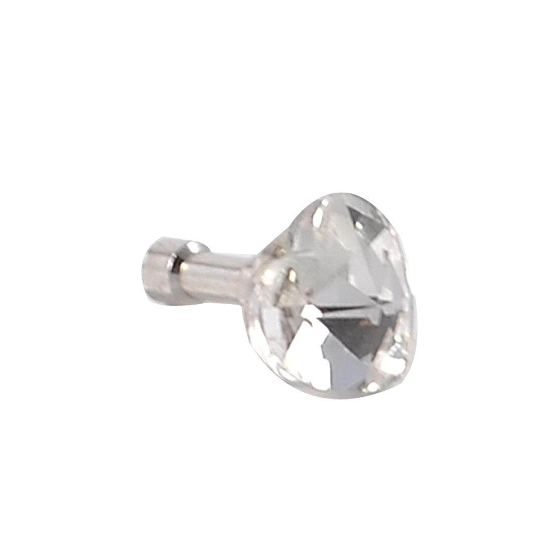 Glitter Clear Heart Shape Crystal 3.5mm Ear Cap Dust Plug for MP4 Cell Phone