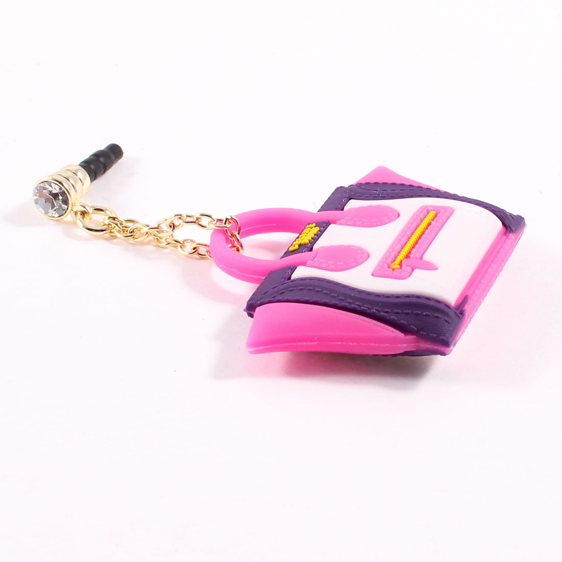 Handbag Dangle 3.5mm Dust Stopper Earphone Cap Pink Purple for Mp4 Mp3