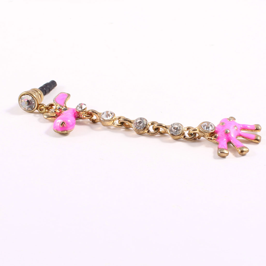 Rhinestone Giraffe Dangle 3.5mm Dust Stopper Earphone Cap Pink for Mp3 Mp4