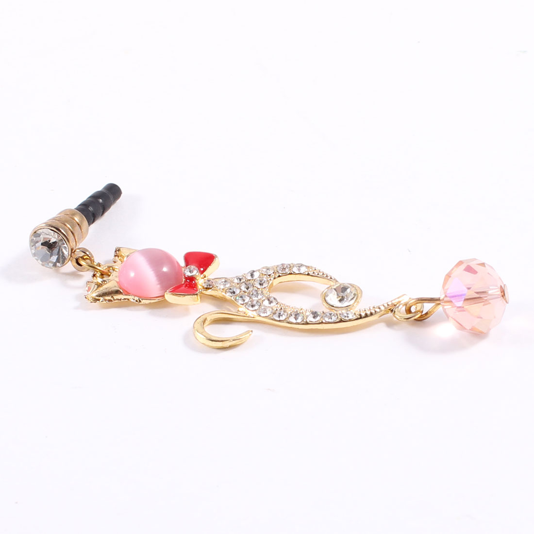Pink Rhinestone Cat Design Dangle 3.5mm Jack Dust Stopper Earphone Ear Cap
