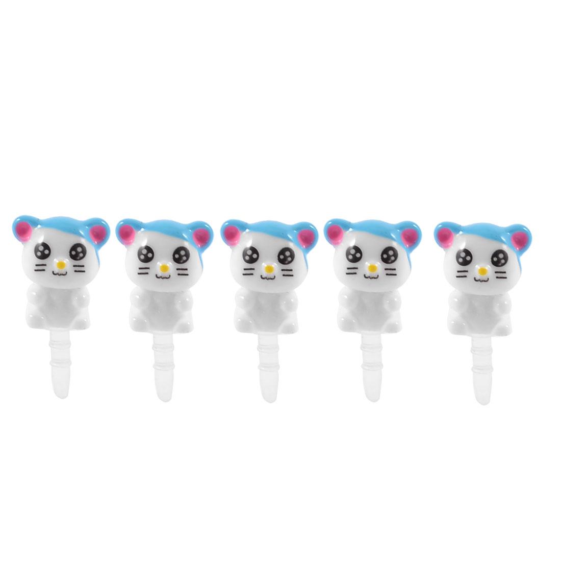 5 Pcs Plastic Cat 3.5mm Earphone Anti Dust Ear Cap Stopper for Smartphone