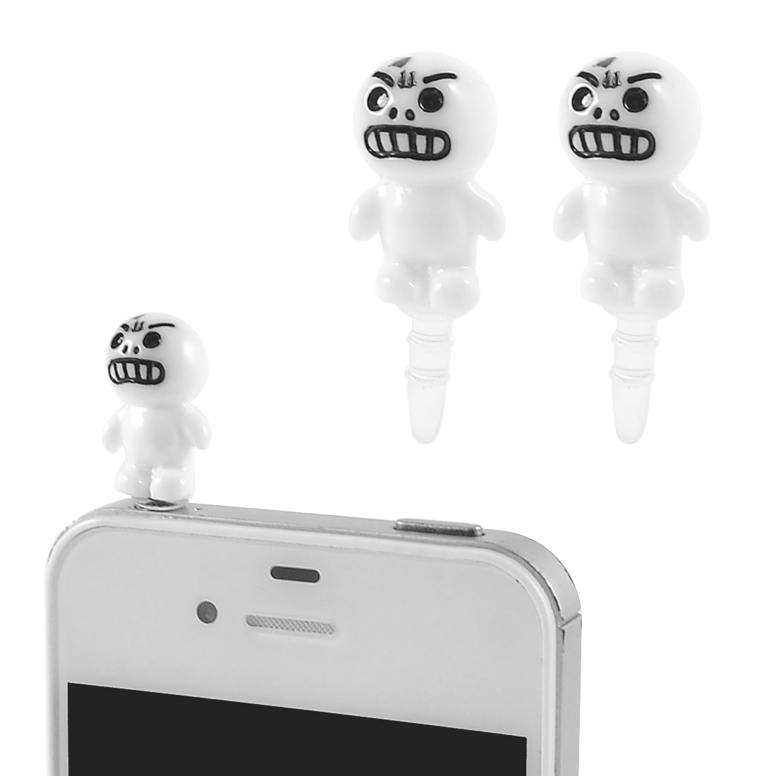 2 Pcs Angry Face 3.5mm Earphone Anti Dust Plug Ear Cap Stopper for Smartphone