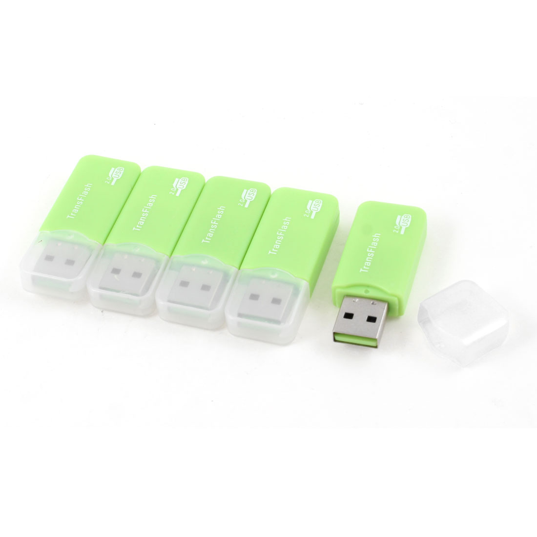 5 x Green Portable USB 2.0 Interface Transflash TF Micro SD Memory Card Reader