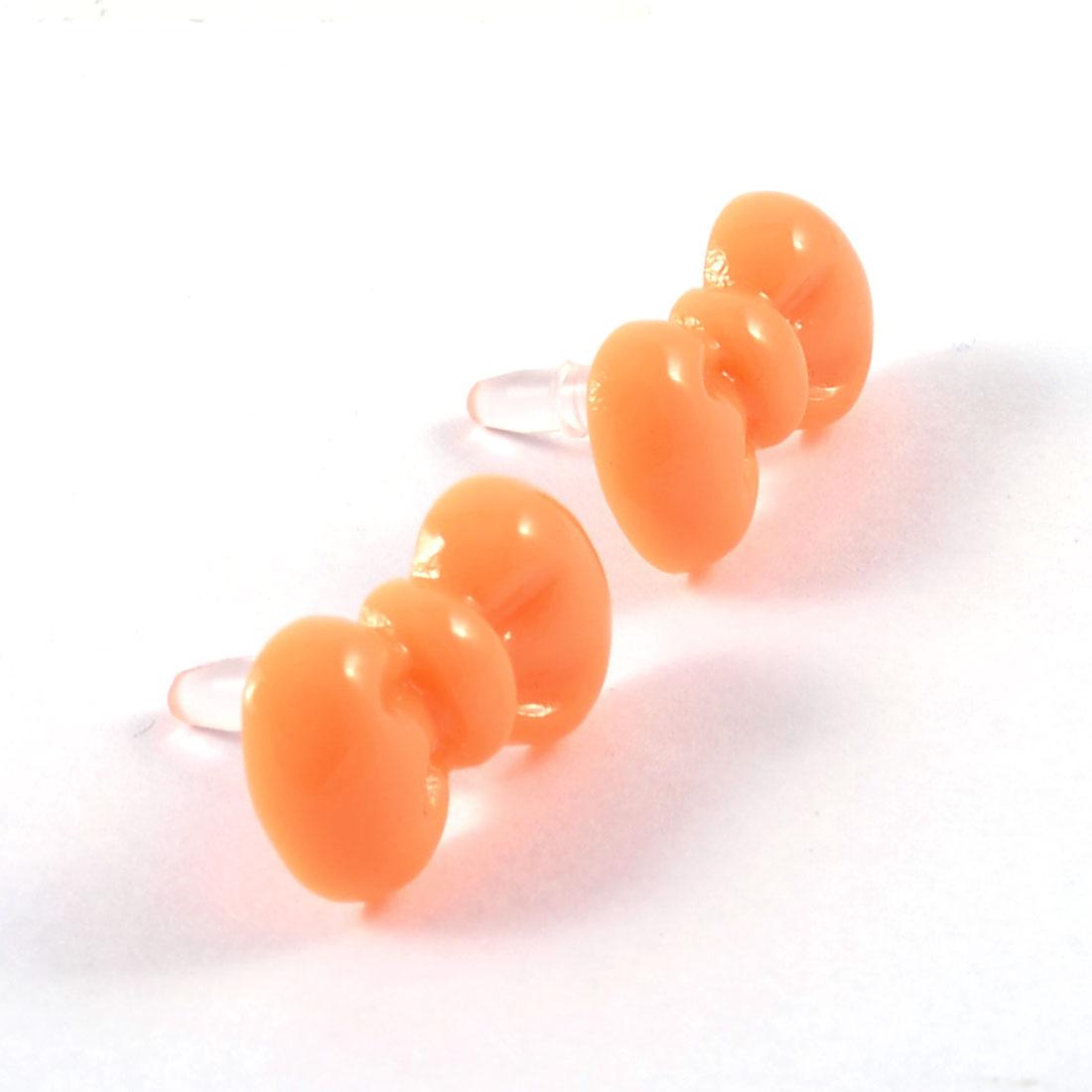2 Pcs Orange Bowtie 3.5mm Earphone Dust Ear Cap Jack Plug for Cell Phone