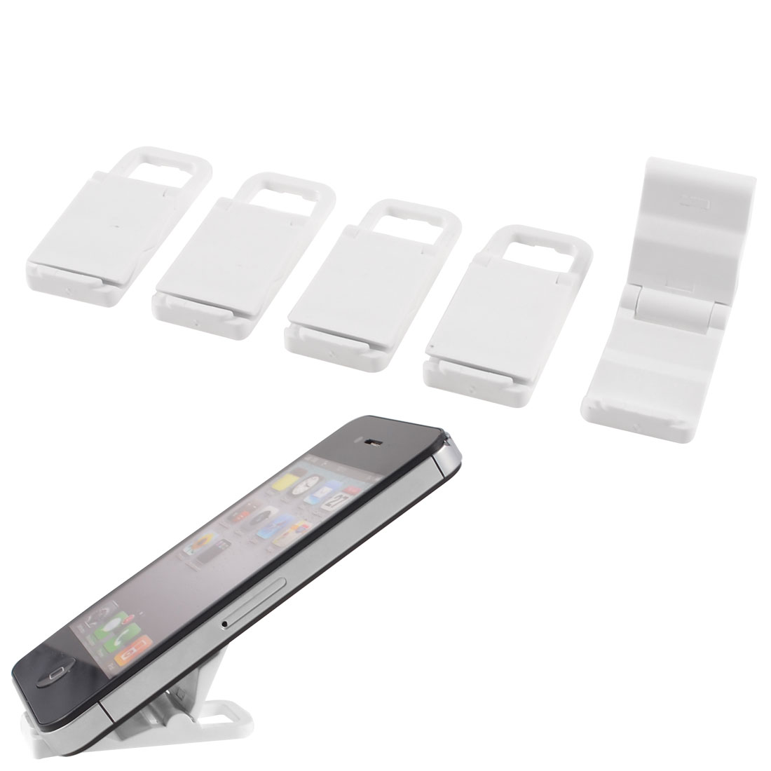 5 Pcs White Plastic Foldable Stand Holder for MP4 Mobile Phone