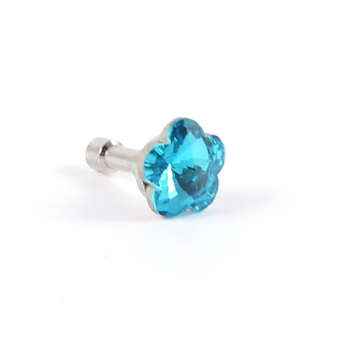 Glitter Teal Blue Faceted Flower Crystal 3.5mm Ear Cap Dust Plug for Cell Phone