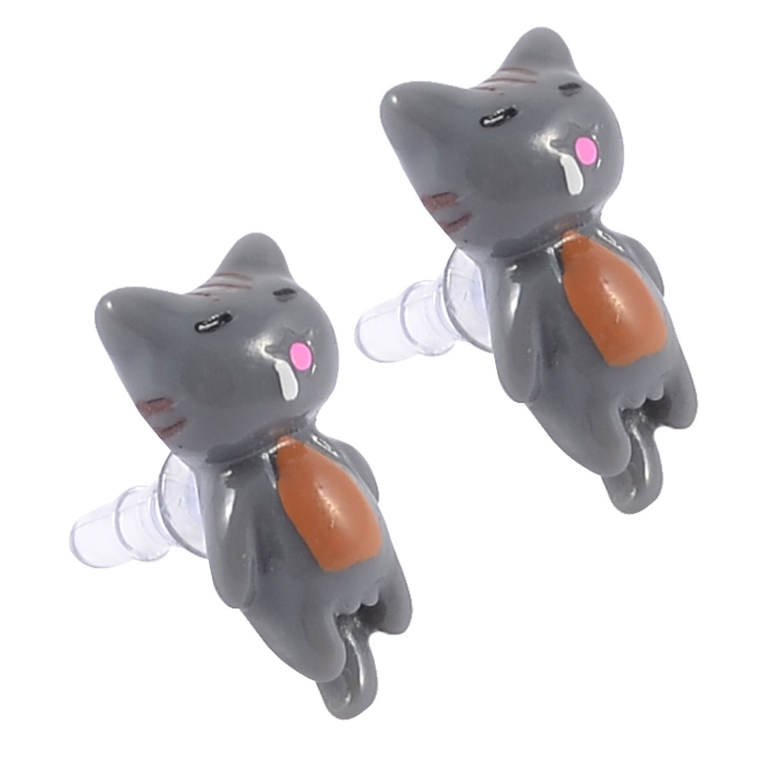 2 Pcs Gray Plastic Cat Decor 3.5mm Ear Cap Dust Proof for MP3 Mp4