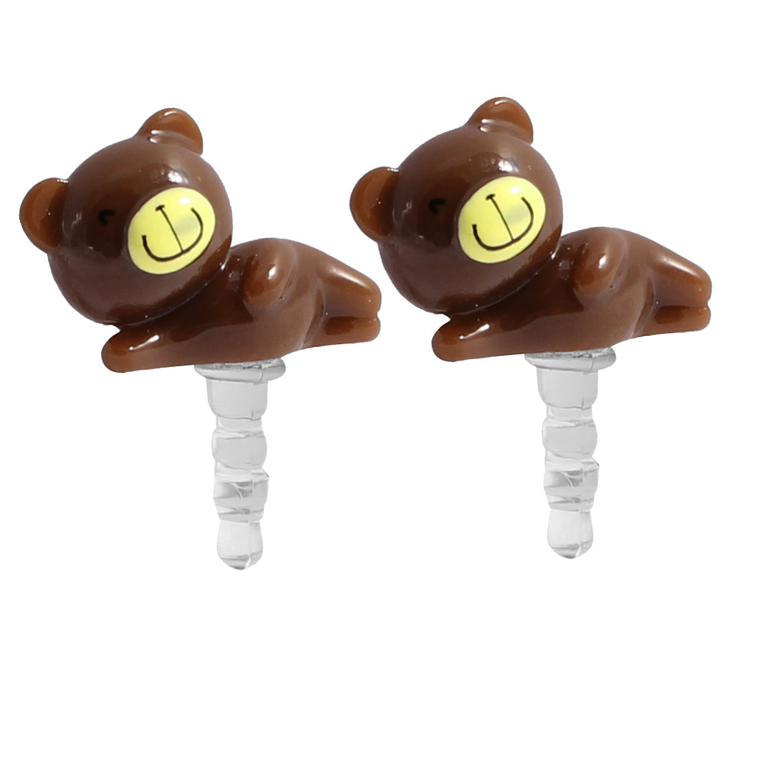 2 Pcs Brown Plastic Bear Decor 3.5mm Ear Cap Dust Proof Plug for MP3 Laptop