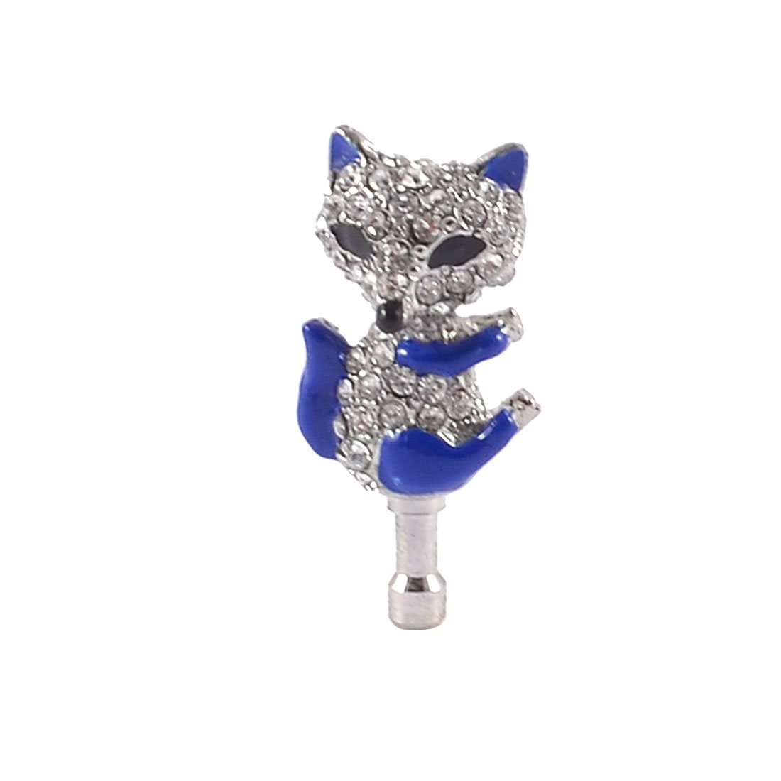Clear Rhinestone Blue Fox 3.5mm Jack Dust Stopper Earphone Ear Cap for Mp4 Mp3