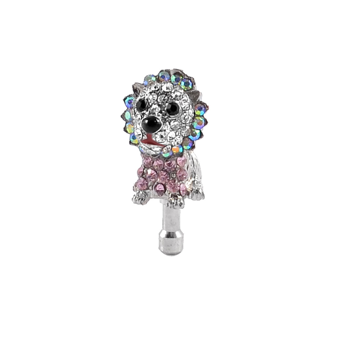 Pink Clear Rhinestone Puppy 3.5mm Ear Cap Jack Dust Plug Stopper for Mobile Phone
