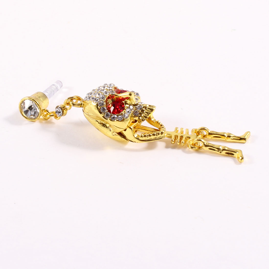 Gold Tone Skull Pendant 3.5mm Earphone Ear Cap Anti Dust for Mobile Phone