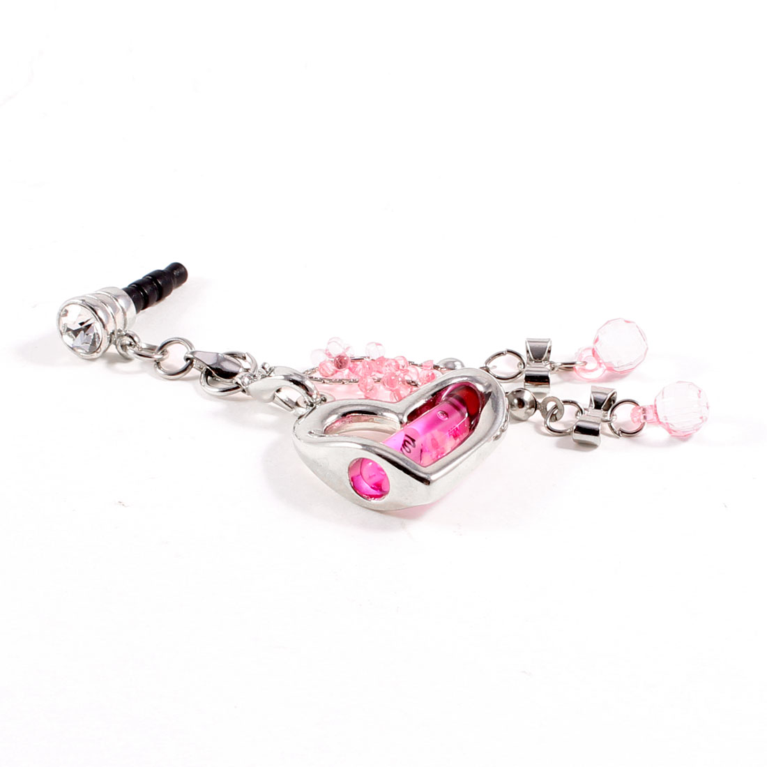 Faux Crystal Heart Dangle 3.5mm Jack Dust Stopper Earphone Ear Cap Pink
