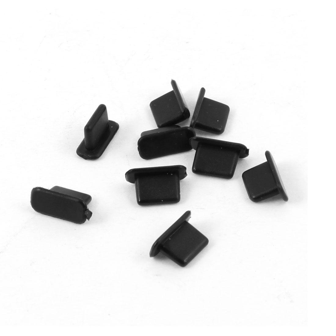Portable Black Plastic Charge Port Dust Resistant Stopper Plug 9 Pcs