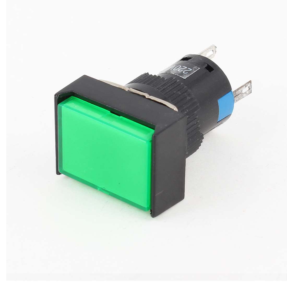 Green Rectangle DC 24V Neon Light Momentary Pushbutton Switch DC 30V 5A
