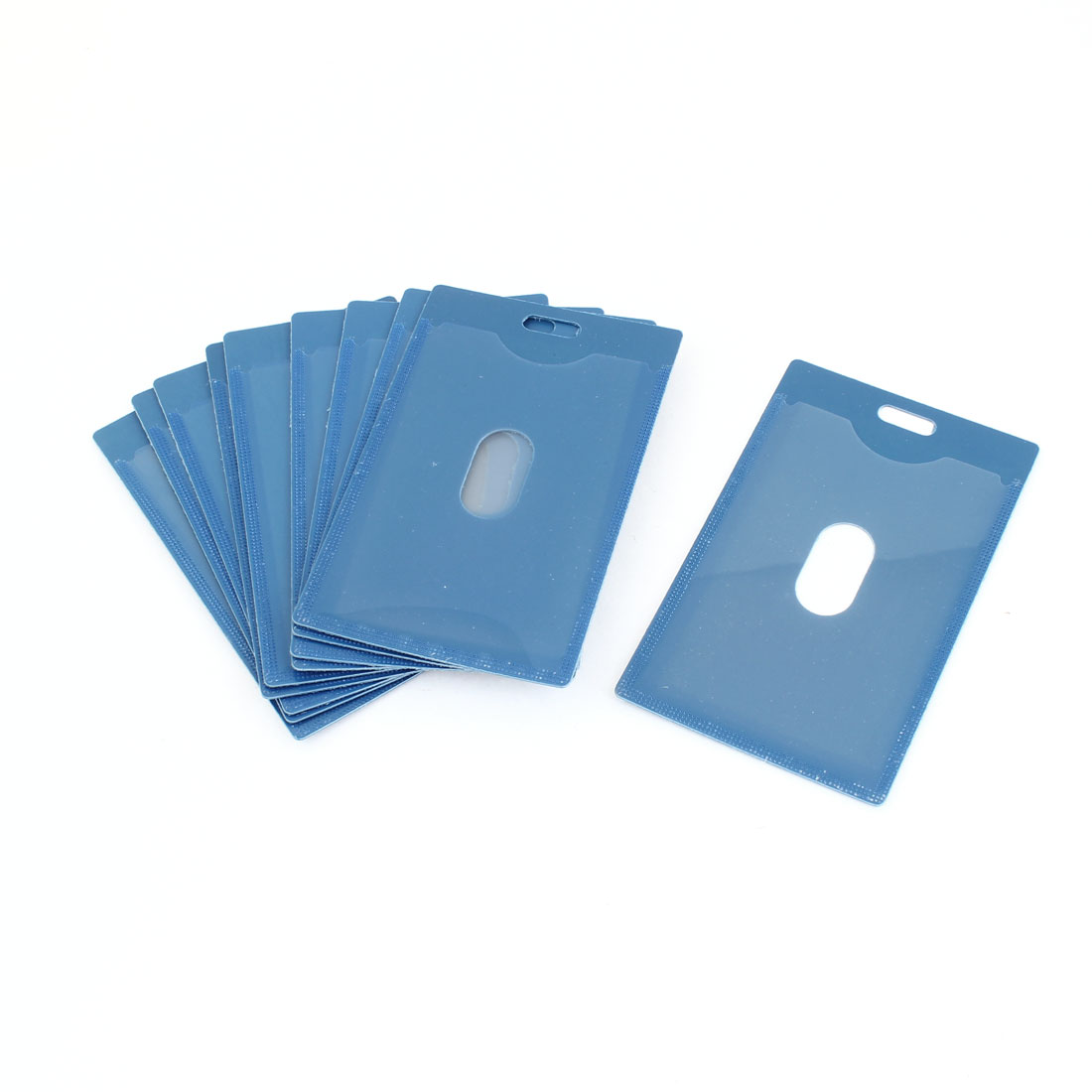 10 Pieces Blue Plastic Vertical Name Badge ID Holder for Office Worker