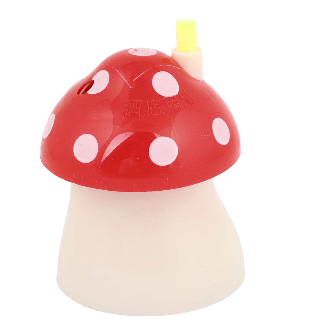 Automatic Plastic Dot Print Mushroom Toothpick Holder Red Beige