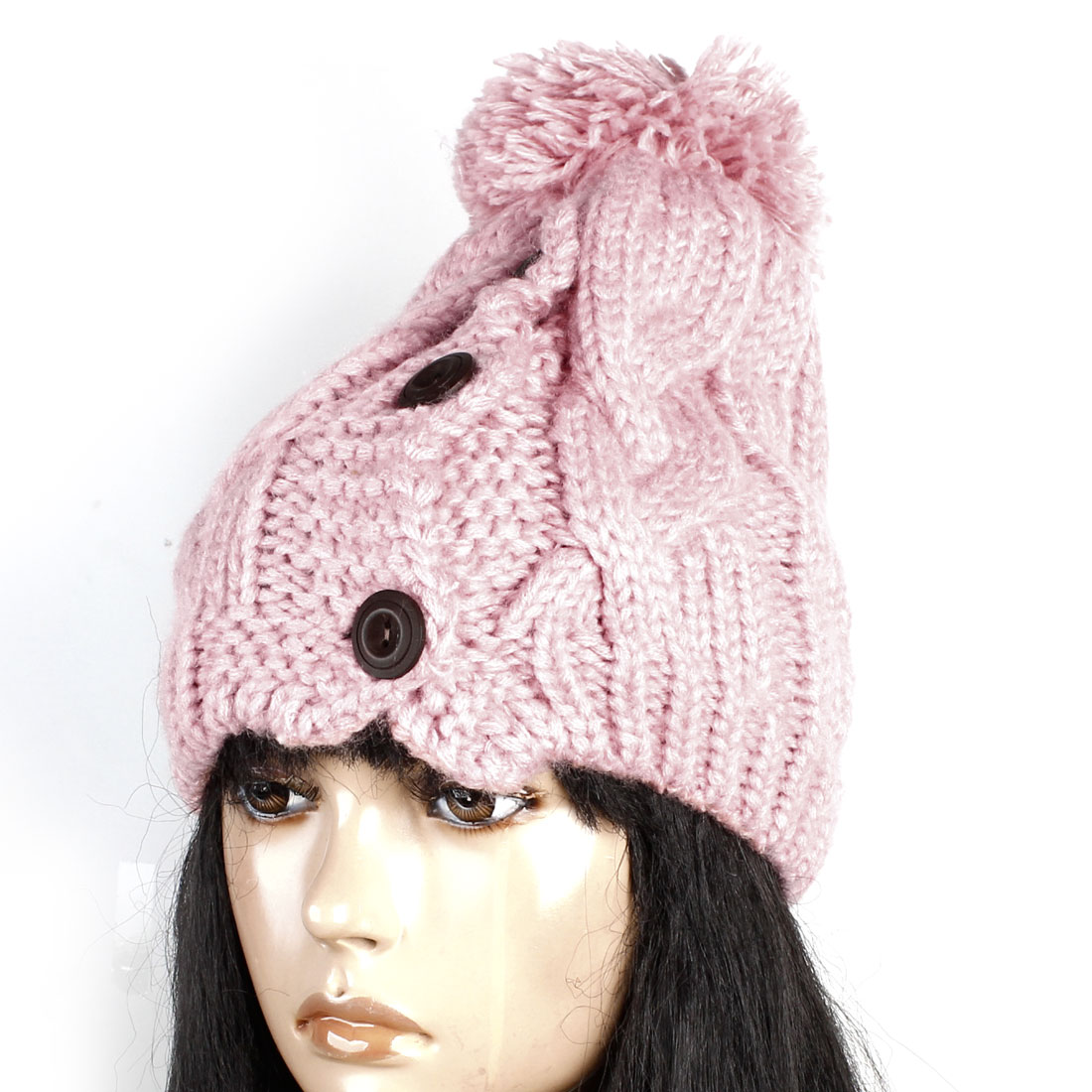 Woman Pale Pink Pom Pom Top 3 Brown Buttons Accent Knitted Warm Hat Cap
