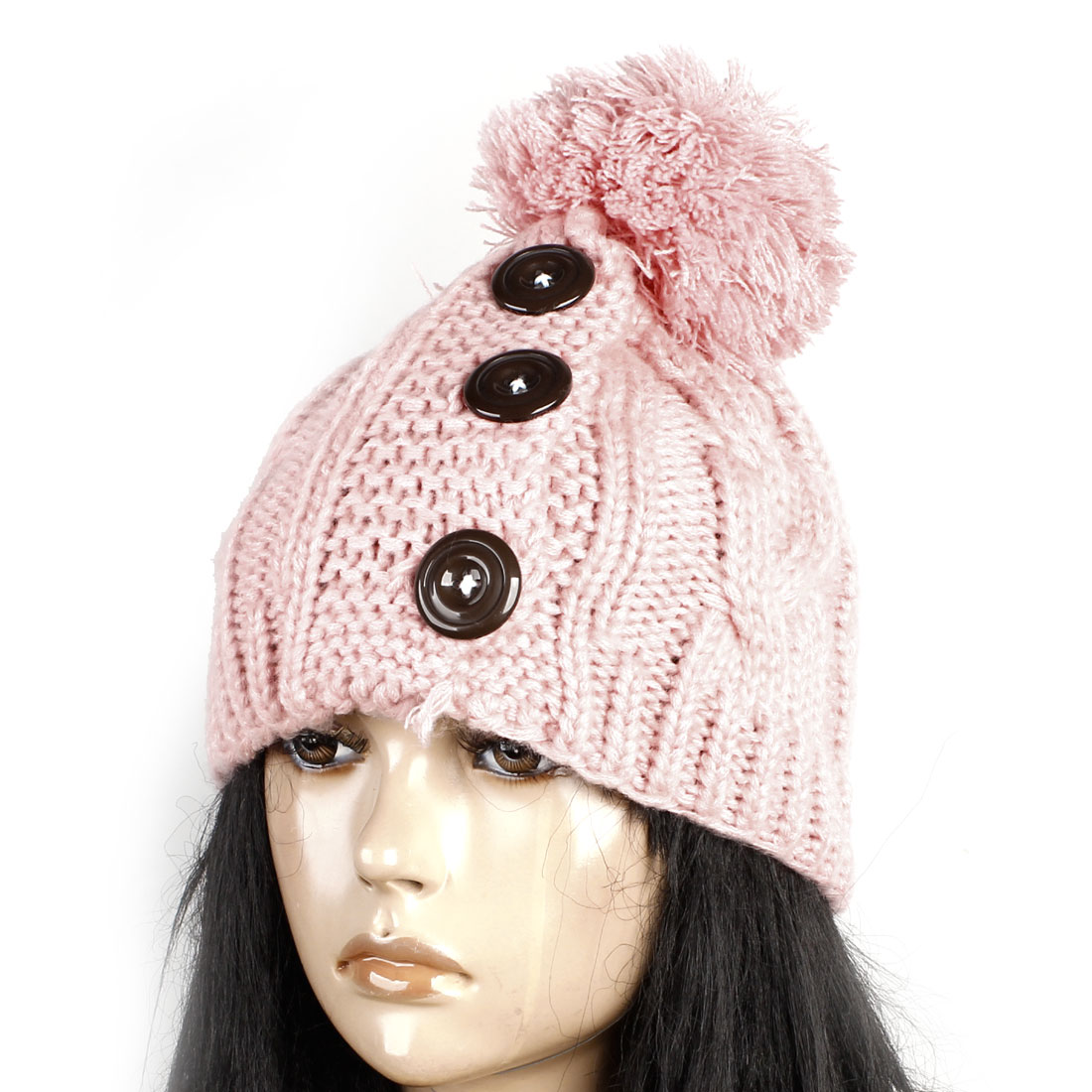 Ladies Winter Cable Knitted 3 Brown Buttons Pink Winter Beanie Hat