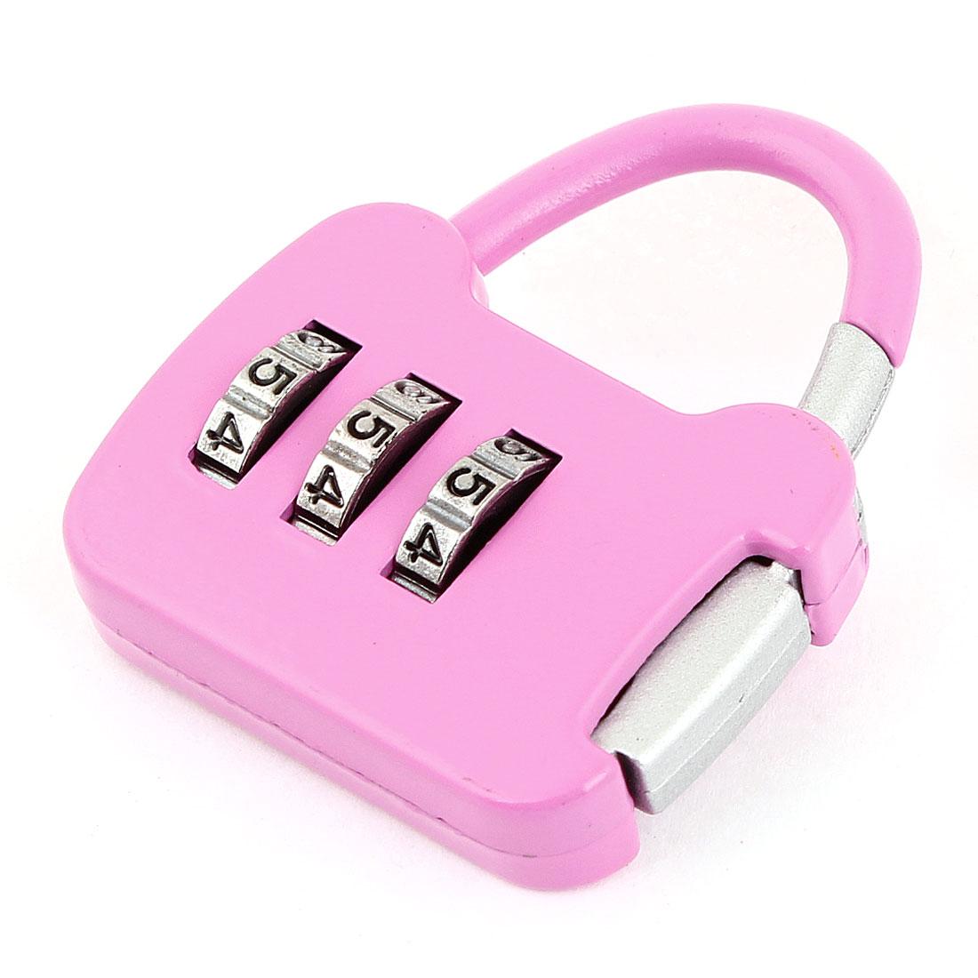 Metallic 3 Digits Magenta Jewelry Box Combination Password Padlock