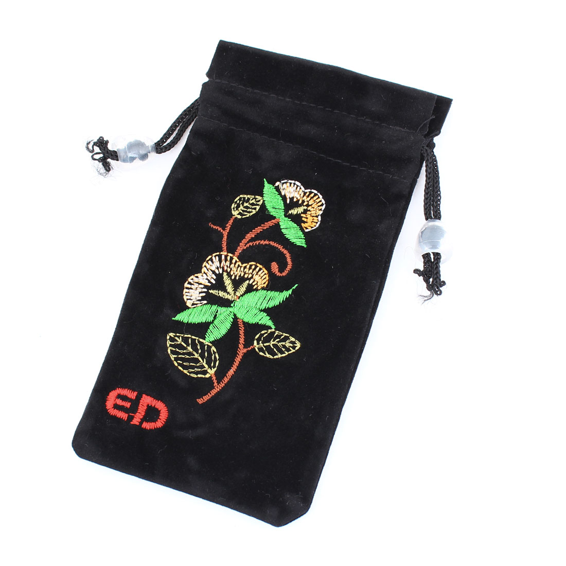 Velvet Flower Print Drawstring Closure Cell Phone Holder Bag Black