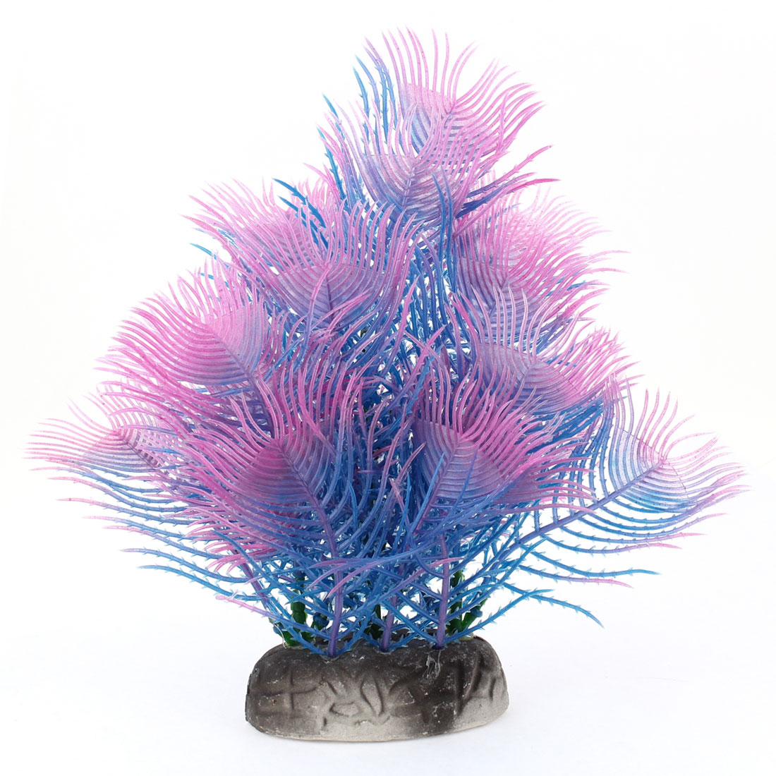 "8.1"" Height Pink Blue Manmade Plastic Aquatic Plant Grass for Fish Tank Aquarium"