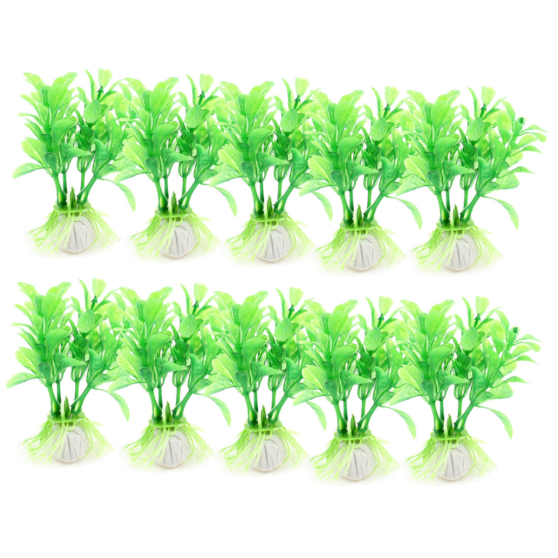 "10 Pcs 3.5"" Height Plastic Plants Grass Green Decoration for Fish Tank"