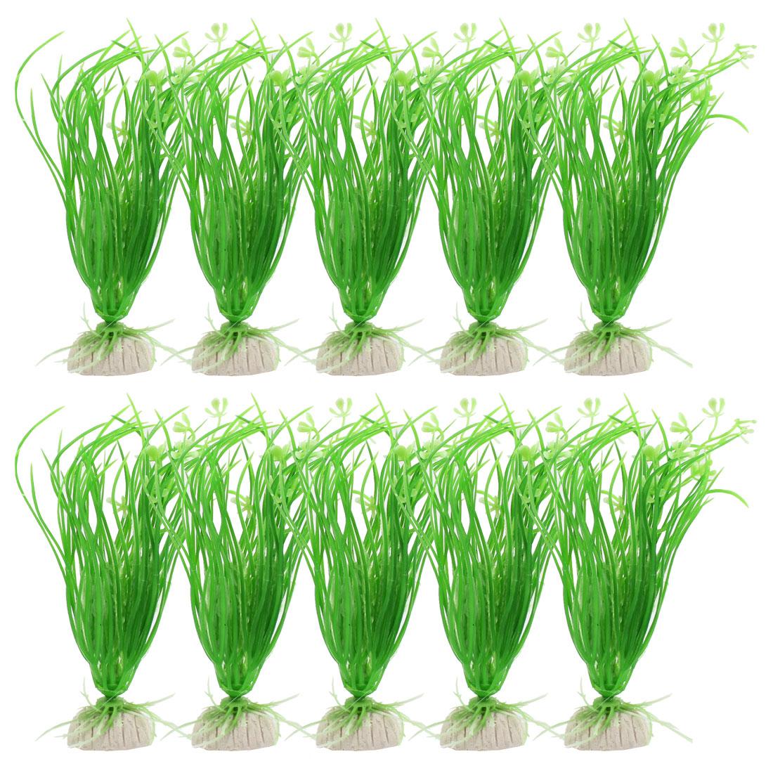 "10 Pcs 5.9"" High Ceramic Base Manmade Plastic Plants Grass Green for Fish Tank"