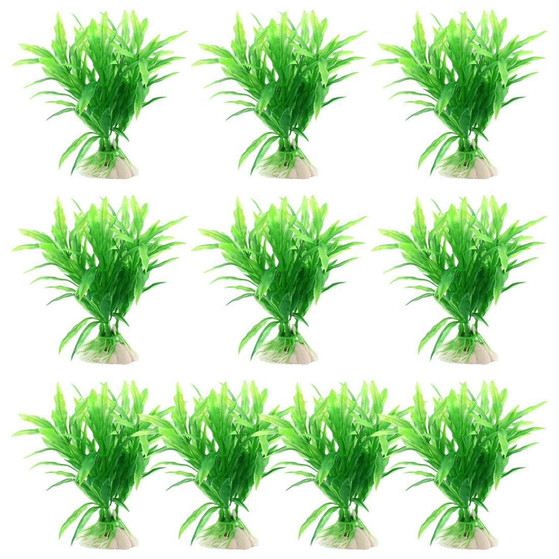 "10 Pcs 5.1"" High Underwater Plastic Plants Grass Green for Fish Tank Aquarium"