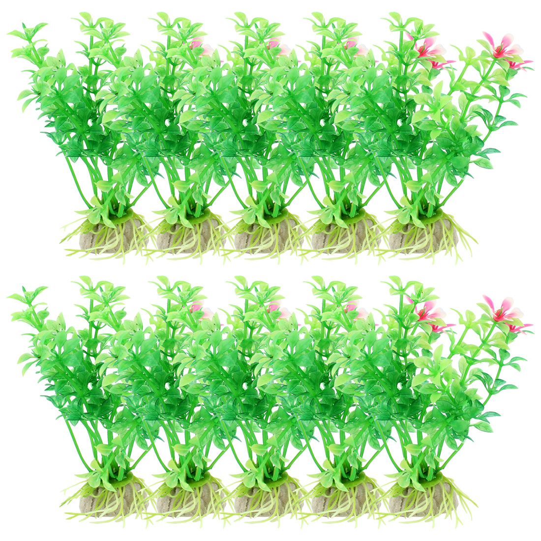 "10 Pcs 4.3"" Height Ceramic Base Plastic Plants Grass Green For Fish Tank"