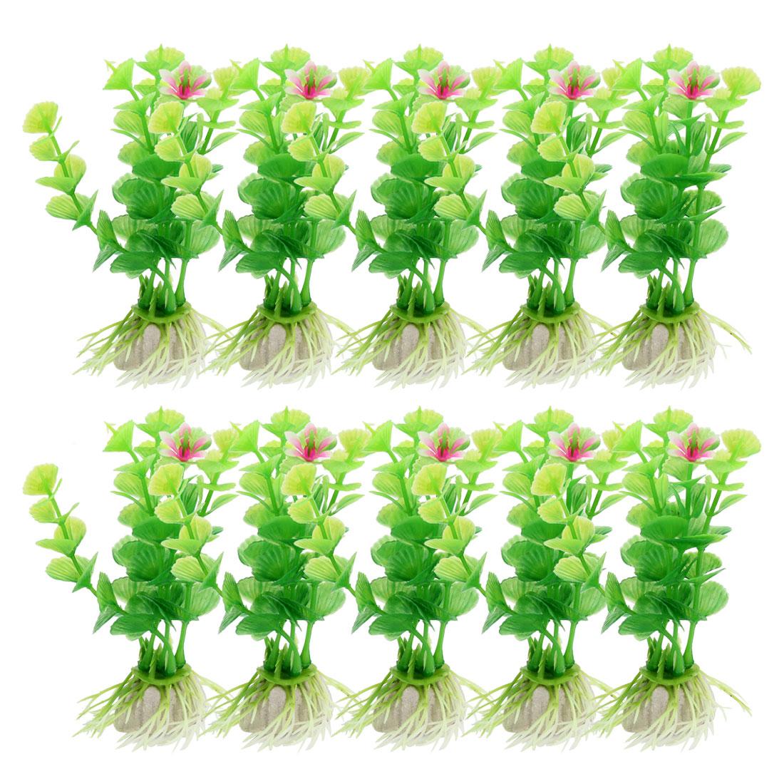 """10 Pcs Aquarium Fish Tank Green Plastic Emulational Plants Grass 3.9"""" High"""
