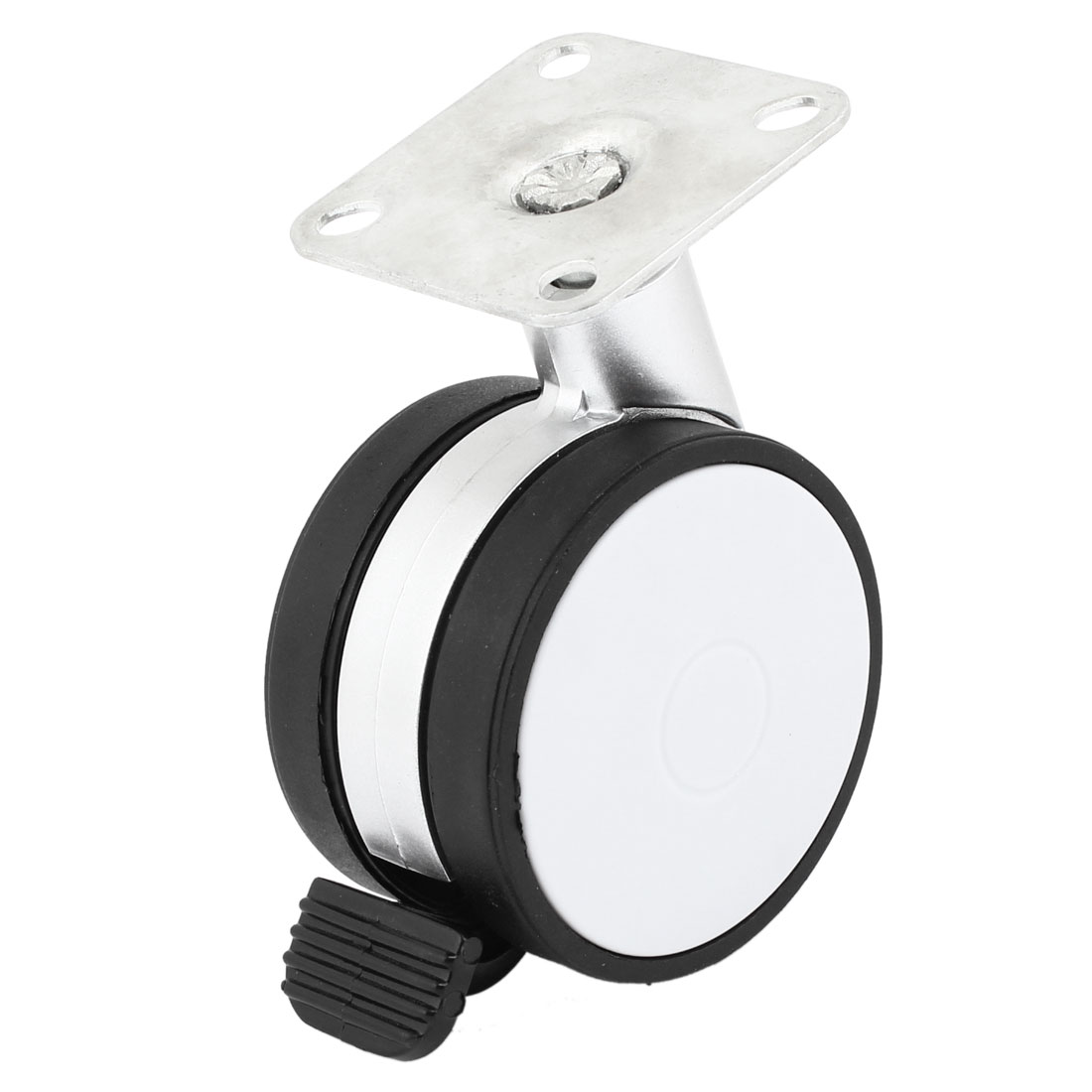 "Metal Rotatable Square Flat Plate 2.4"" Single Caster Wheel Black White"