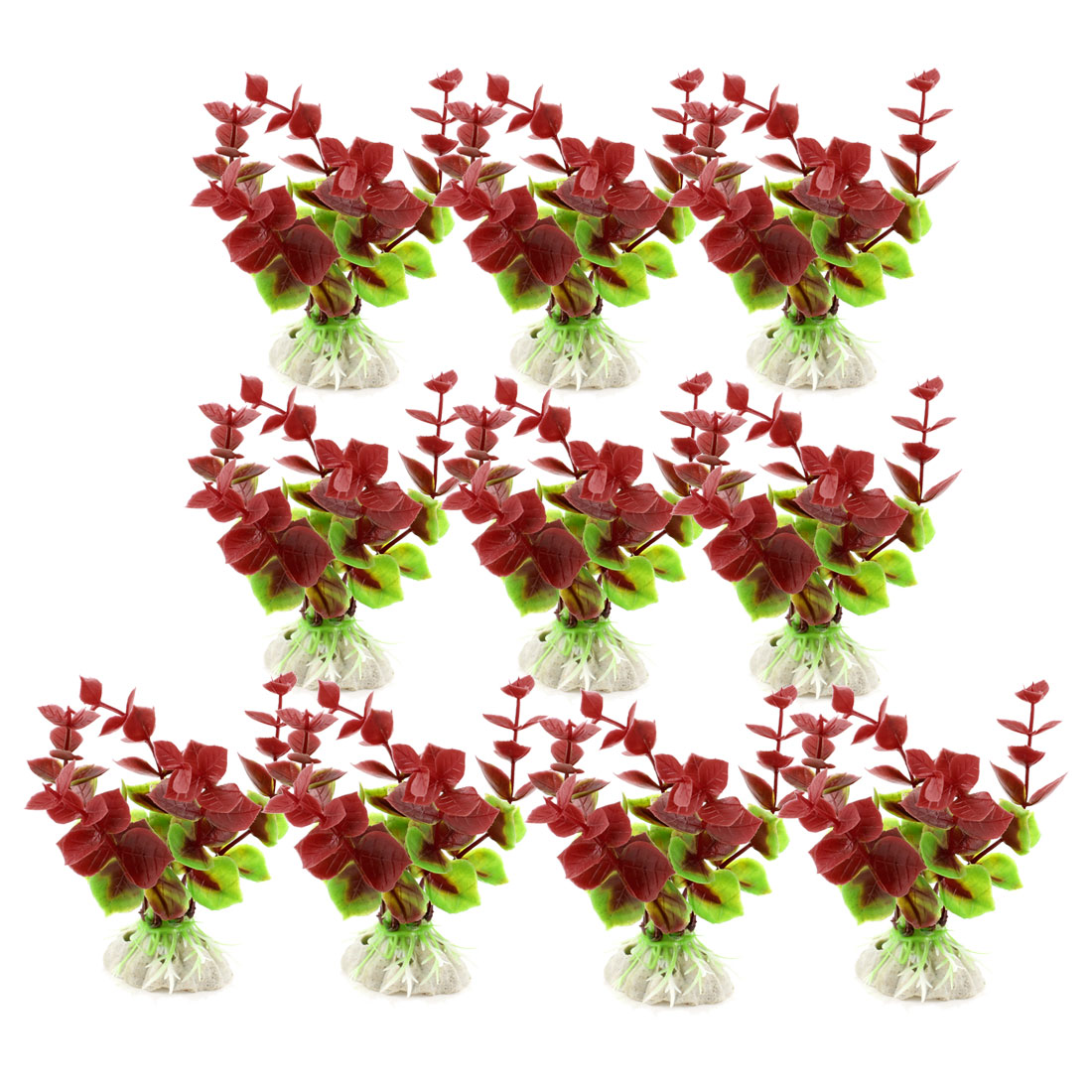 "10 Pcs 3.9"" Height Green Crimson Plastic Grass Plants Decoration for Fish Tank"