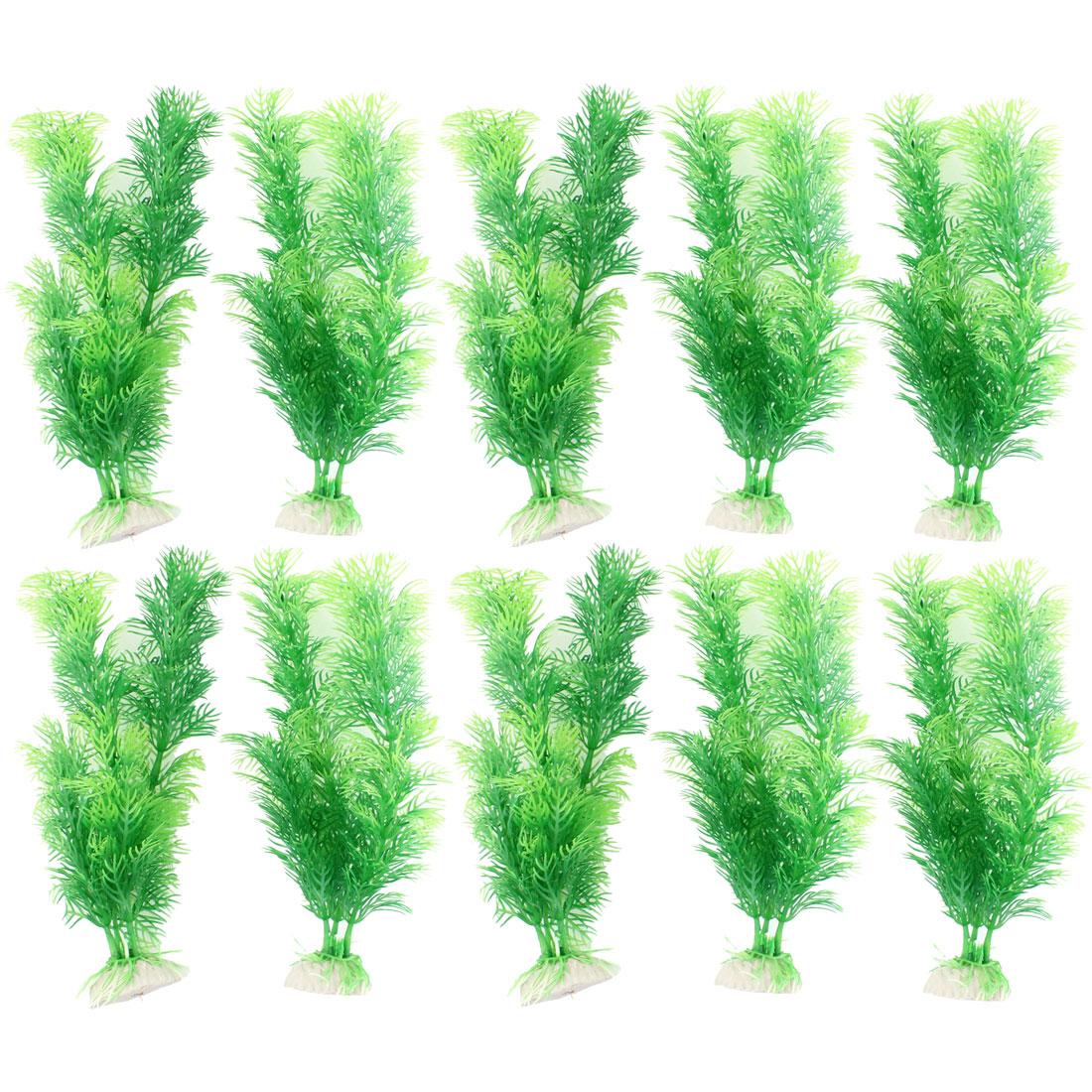 "10 Pcs 8.7"" High Underwater Plastic Plants Grass Green for Fish Tank Aquarium"