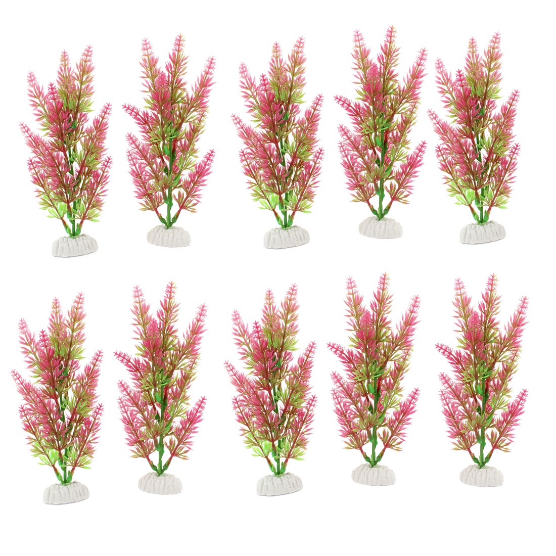 "10 Pcs 7.7"" Height Ceramic Base Green Hot Pink Manmade Plant for Fish Tank"