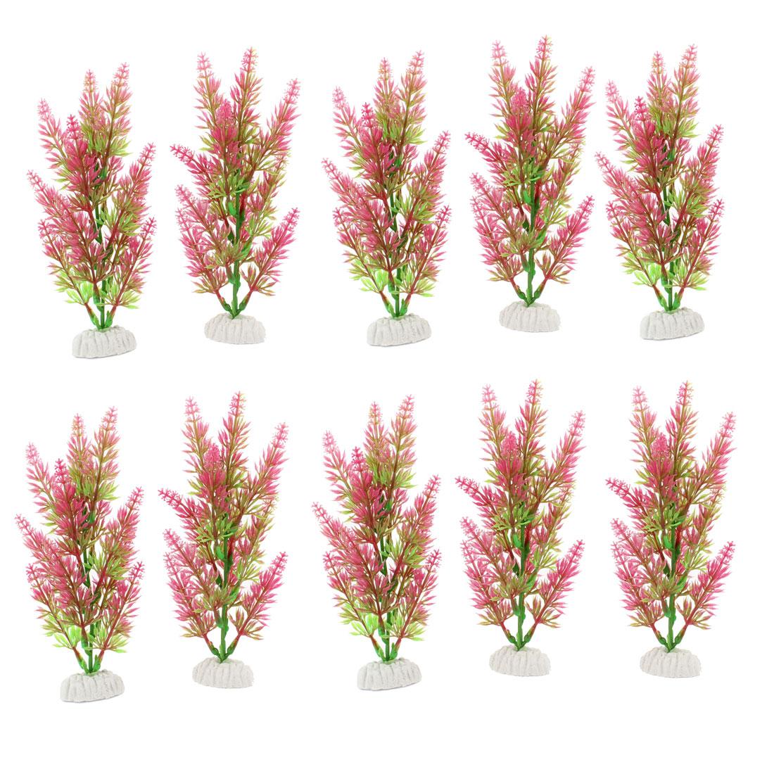 "10 Pcs 7.7"" Height Ceramic Base Green Hot Pink Manmade Plant for Fish Tank"