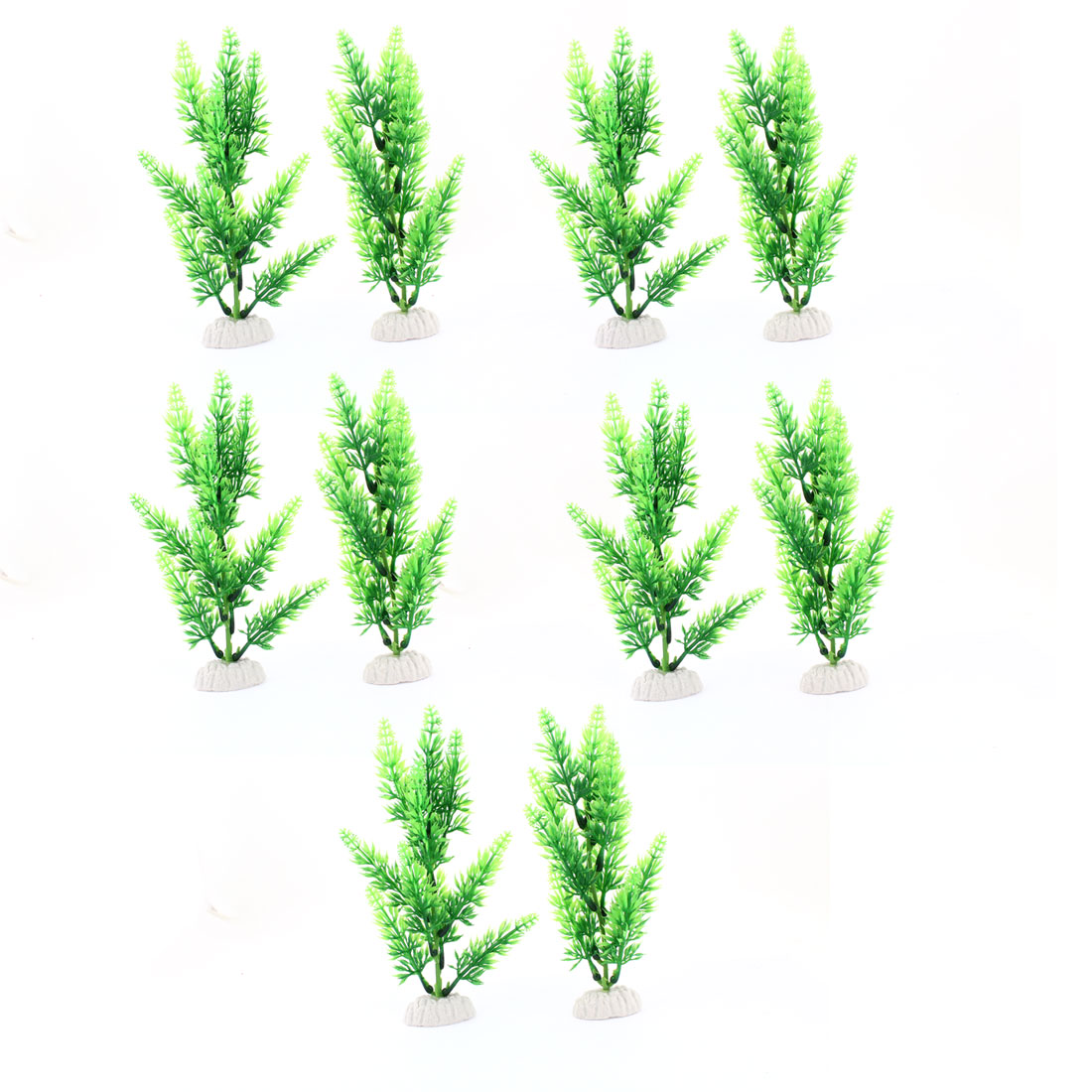 "10 Pcs 7.5"" Height Green Plastic Grass Plants Decoration for Fish Tank"