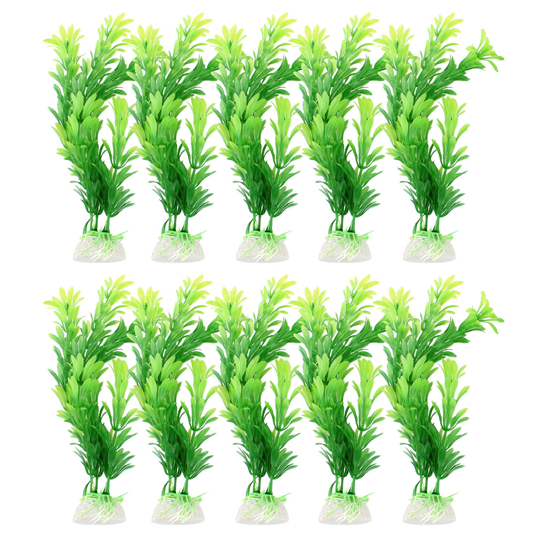 "8.5"" Height Ceramic Base Emulational Green Plastic Grass for Fish Tank 10 Pcs"