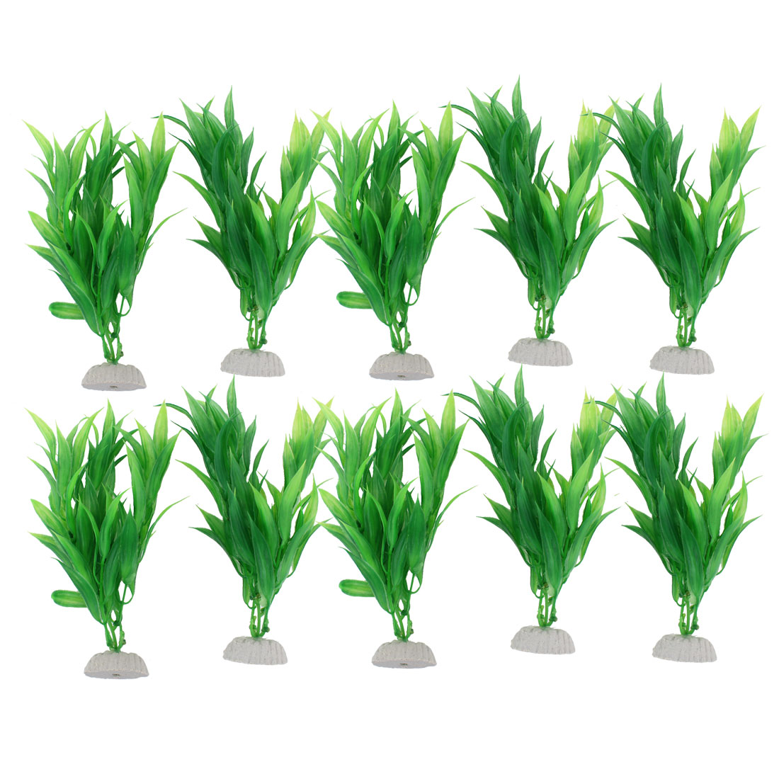 "10 Pcs Aquarium Fish Tank Green Artificial Plastic Plants Grass 8.5"" High"