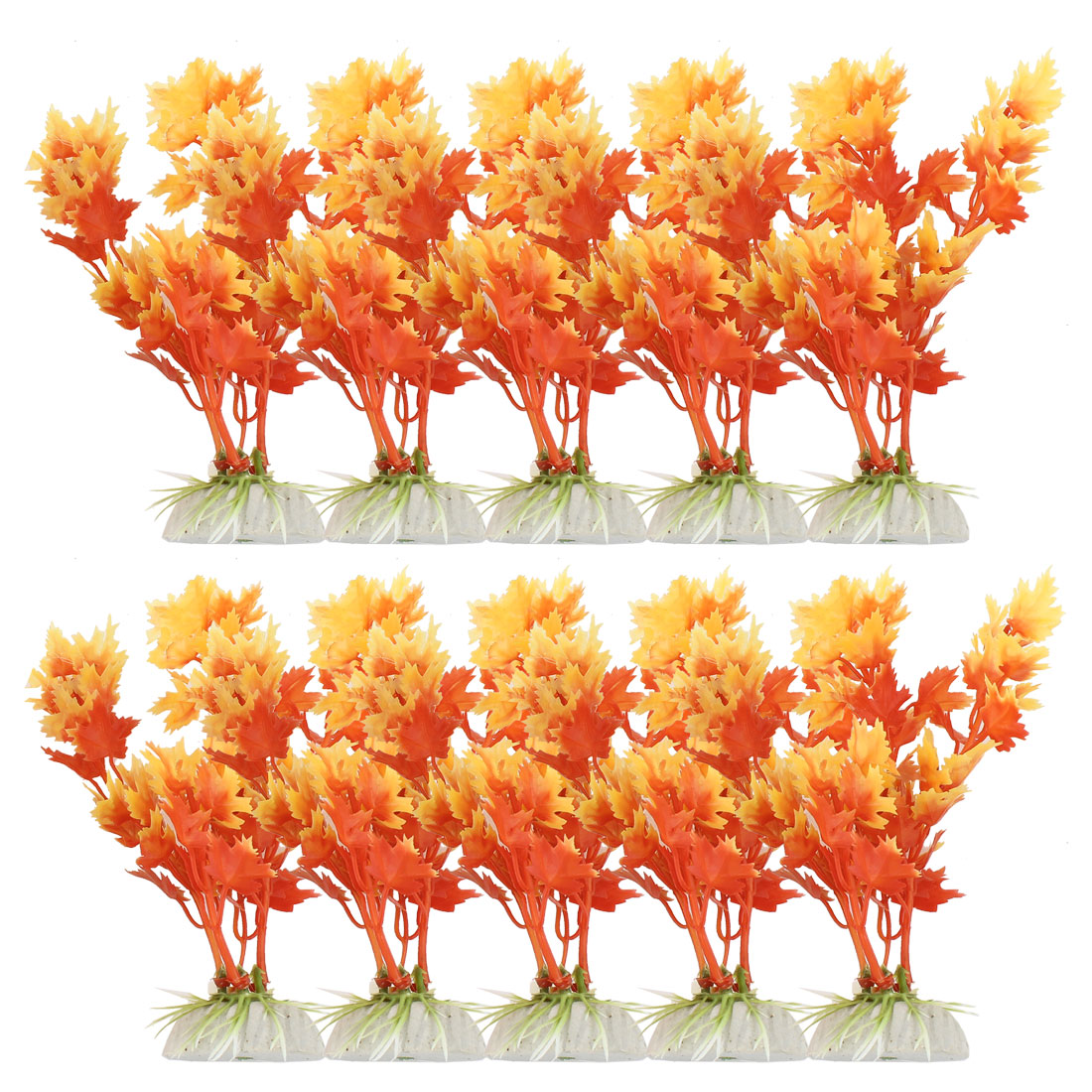 "10 Pcs 5.7"" High Ceramic Base Orangered Plastic Plants Grass for Aquarium Tank"