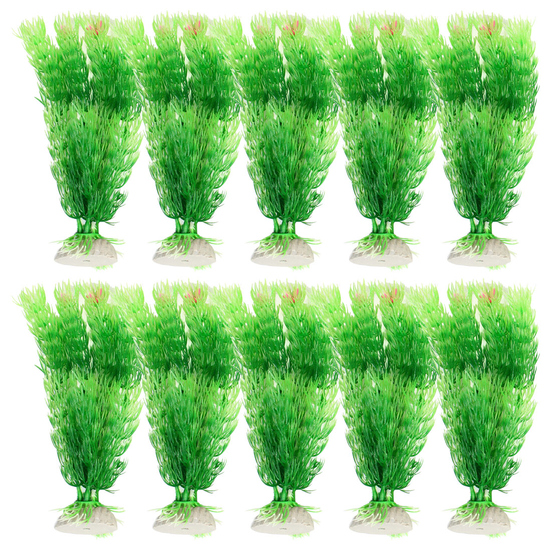 "Fish Tank 7.3"" High Ceramic Base Green Emulational Plastic Plants Grass 10 Pcs"