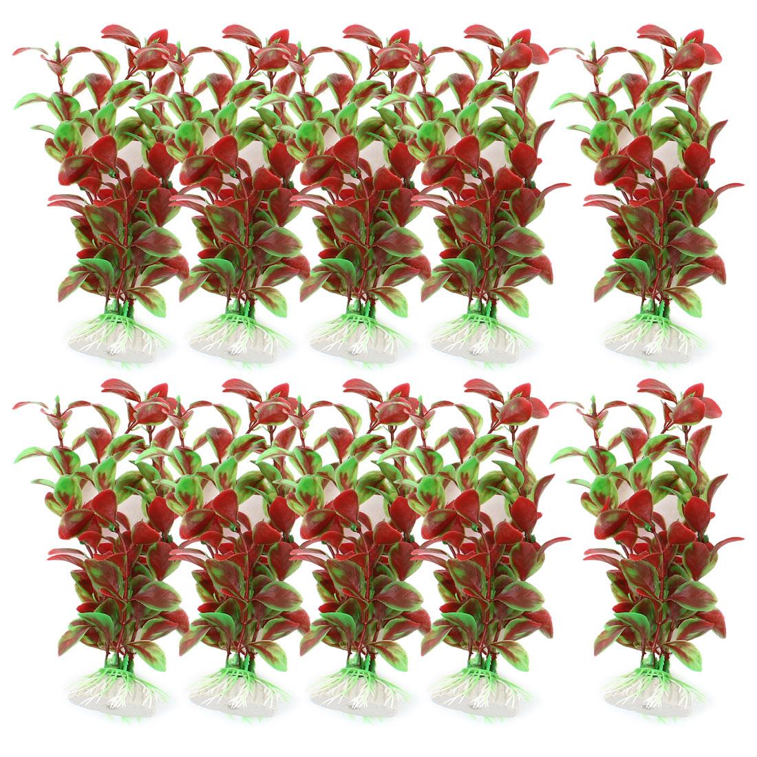 "10 Pcs 6.7"" High Red Green Underwater Plastic Plant Grass for Fish Tank Aquarium"