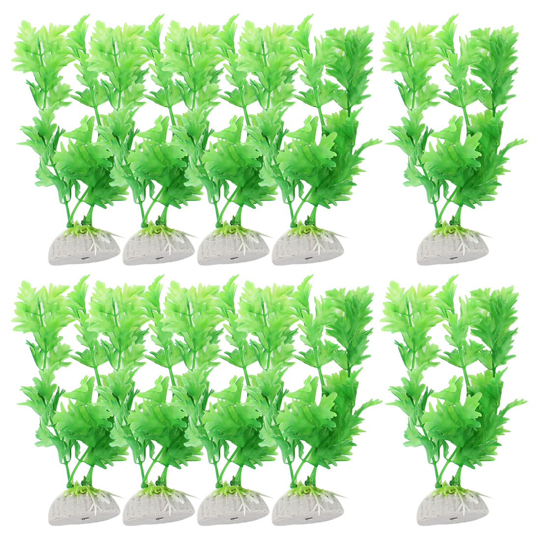 "10 Pcs 6.3"" High Underwater Plastic Plants Grass Green Decoration for Fish Tank"