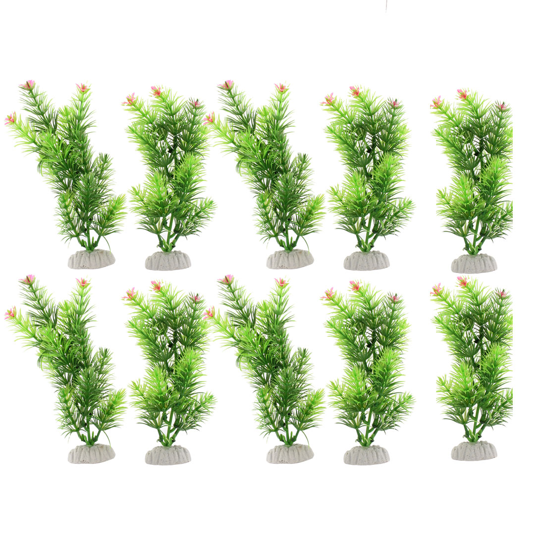 "10 Pcs 7.1"" Height Manmade Plastic Aquascaping Grass Pink Flowers for Fish Tank"