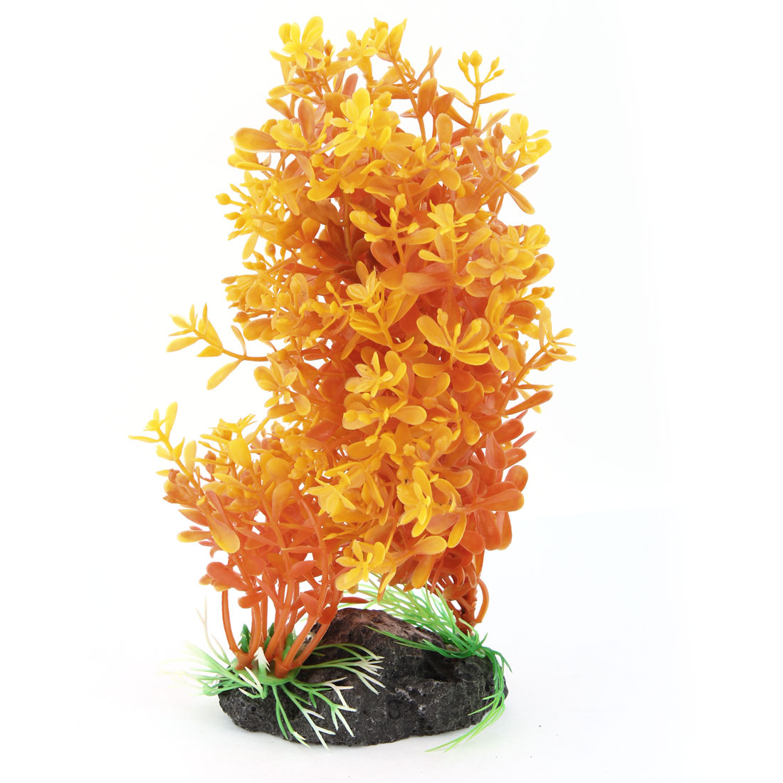 "7.7"" High Orange Artificial Plastic Plants Grass for Fish Tank Aquarium"