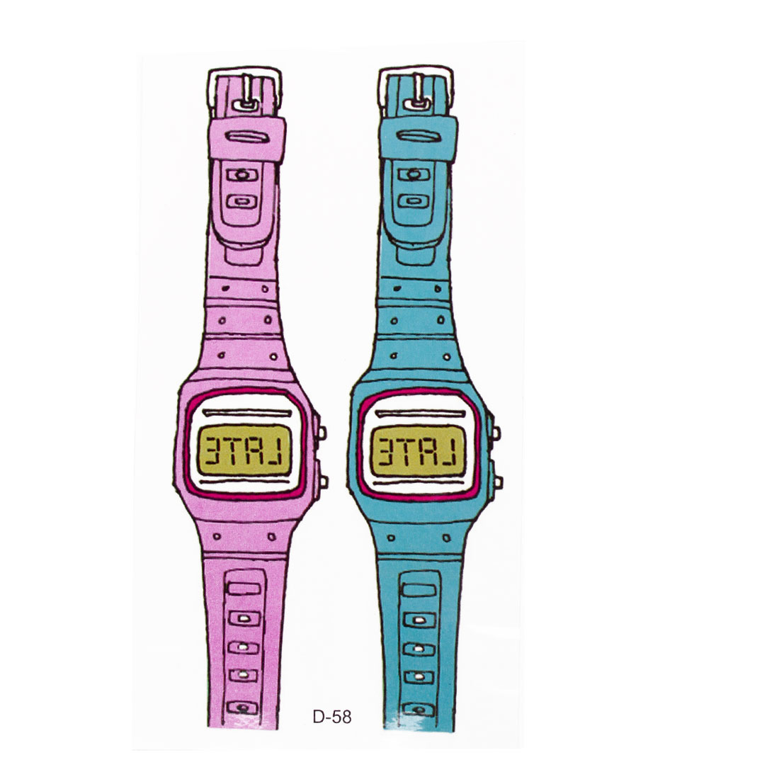 Skin Decorative Teal Blue Pink Wrist Watch Print Transfer Tattoos Stickers