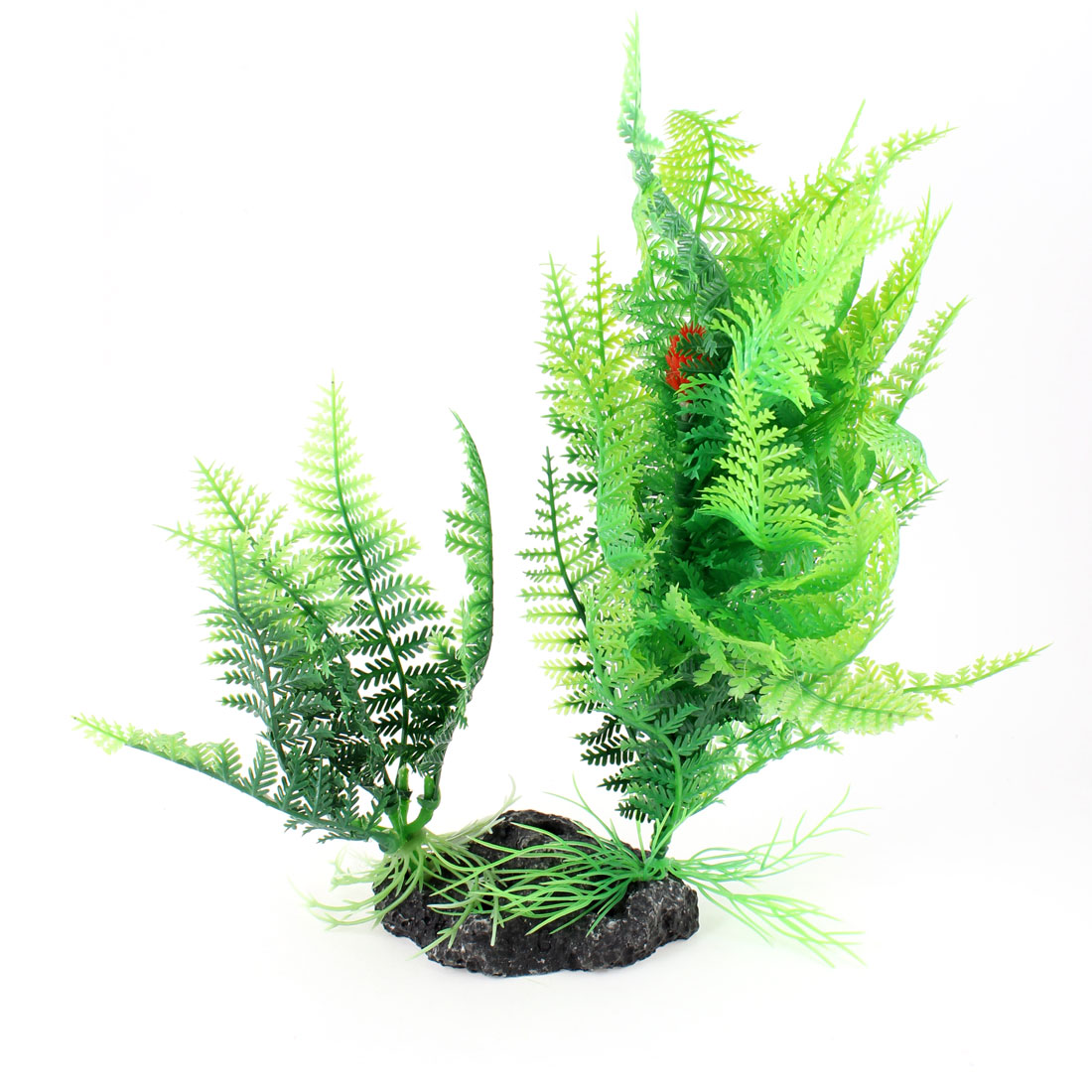"9.0"" Height Ceramic Base Green Plastic Underwater Plants Decorator"